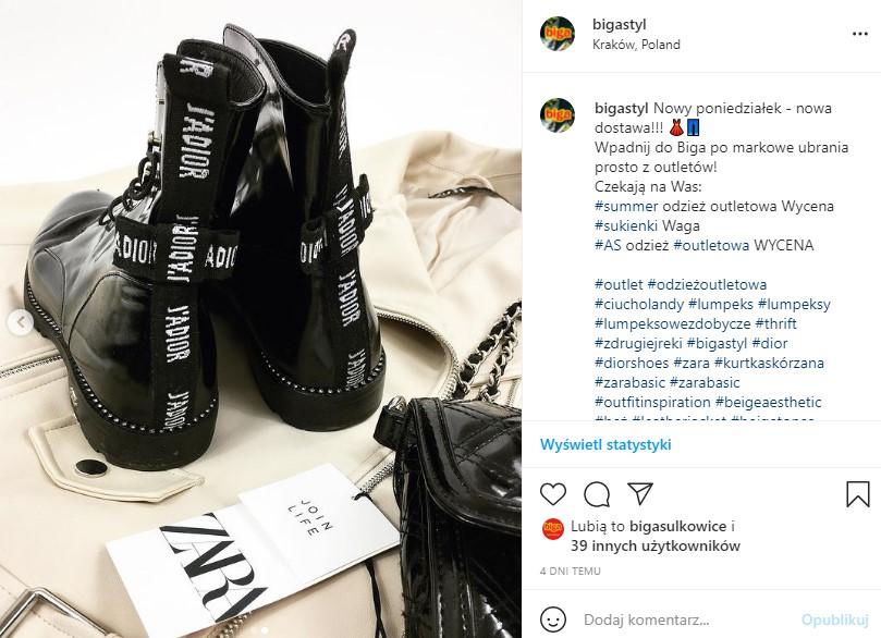 modne buty skórzane dior zara join life second hand